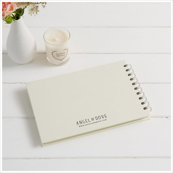 Gift Boxed A5 Luxury Ivory Memory Condolence Book with Gift Card - Angel & Dove