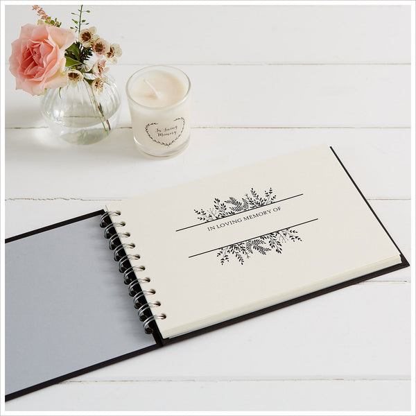 A5 Luxury Black Memory Condolence Book with Ribbon for Funeral Memory Table - Angel & Dove