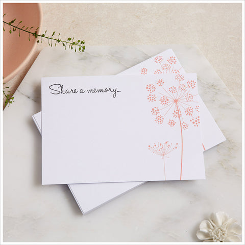 25 'Share a Memory' A6 Funeral Remembrance Cards with Blush Wildflower Design - Angel & Dove