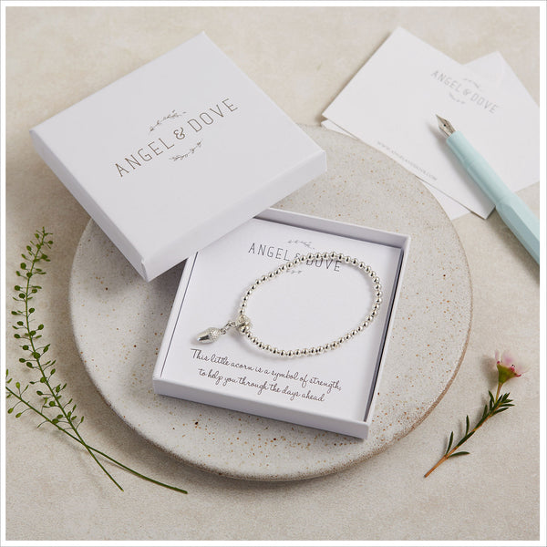 Pewter Acorn 'Strength' Bracelet in Gift Box with Luxury Gift Bag & Card - Angel & Dove