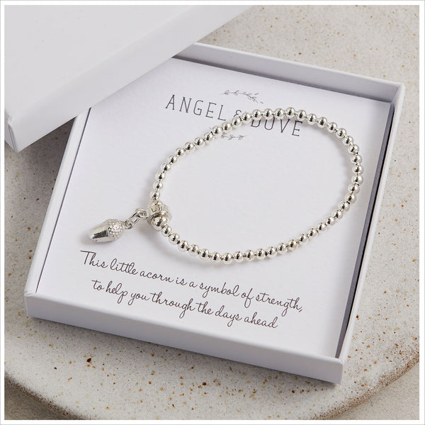 Pewter Acorn Beaded Bracelet in Gift Box with Bag & Gift Card - Angel & Dove