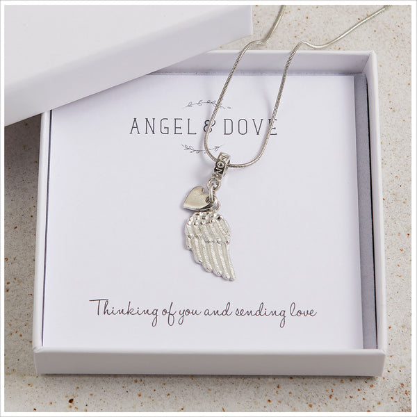 Pewter Angel Wing 'Thinking of You & Sending Love' Necklace with Luxury Gift Bag & Card - Angel & Dove