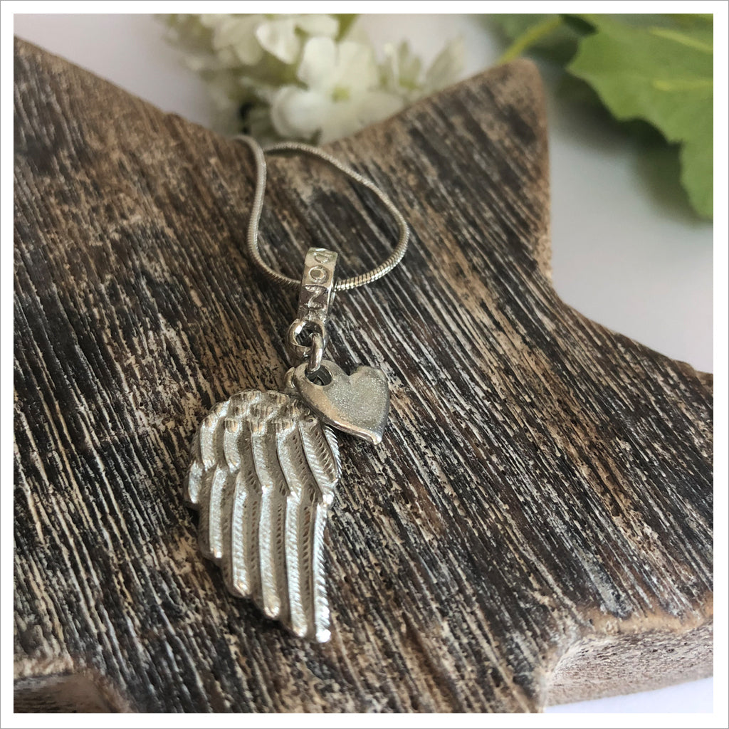 Pewter Angel Wing & Heart Necklace Sympathy Gift with Bag & Card - Angel & Dove