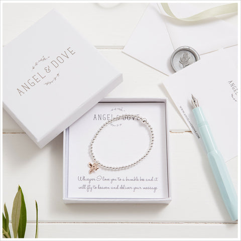 Rose Gold 'Love' Bumble Bee Bracelet in Gift Box with Luxury Gift Bag & Card - Angel & Dove