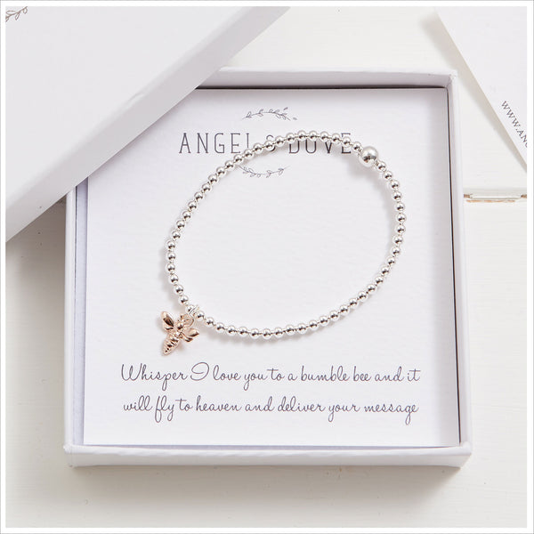 Rose Gold Bumble Bee Bracelet in Gift Box with Bag & Gift Card - Angel & Dove