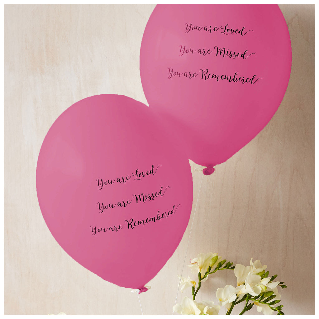 Angel /& Dove 25 Bright Pink Forever In Our Heart Biodegradable Funeral Balloons