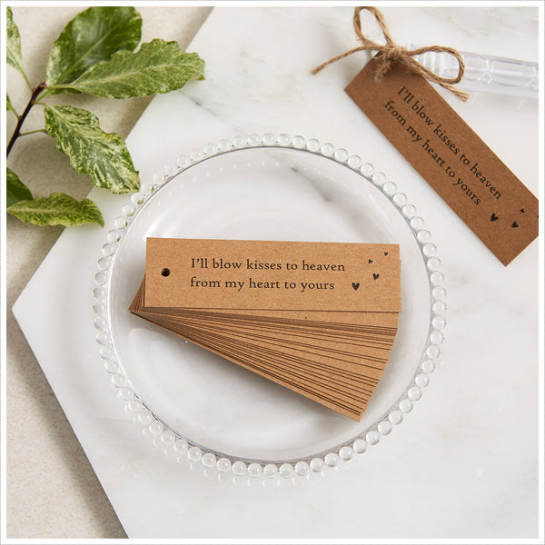 12 Bubble Mix Funeral Favours with Kraft Tags 'I'll Blow Kisses to Heaven' - Angel & Dove