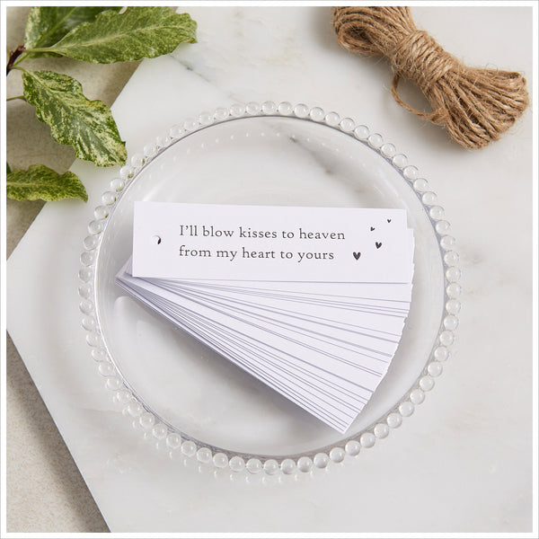 12 Bubble Mix Funeral Favours with White Tags 'I'll Blow Kisses to Heaven' - Angel & Dove