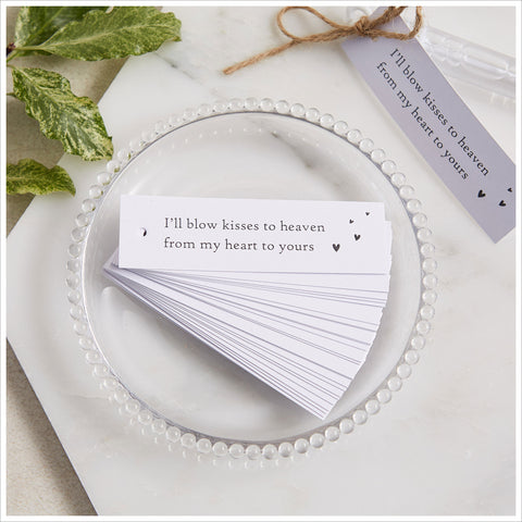 25 White Bubble Funeral Favour Tags with Jute Twine - Angel & Dove