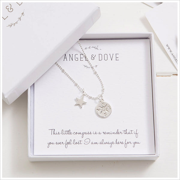 Silver Compass 'Here for You' Necklace in Gift Box with Luxury Gift Bag & Card - Angel & Dove