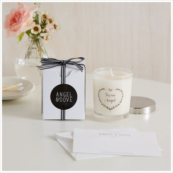 'For An Angel' 9cl Votive Remembrance Candle with Gift Bag & Card - A Thoughtful Gift for Miscarriage or Baby Loss - Angel & Dove