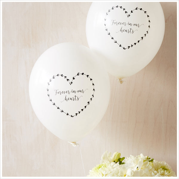 Forever In Our Hearts Funeral Remembrance Balloons - White - Angel & Dove