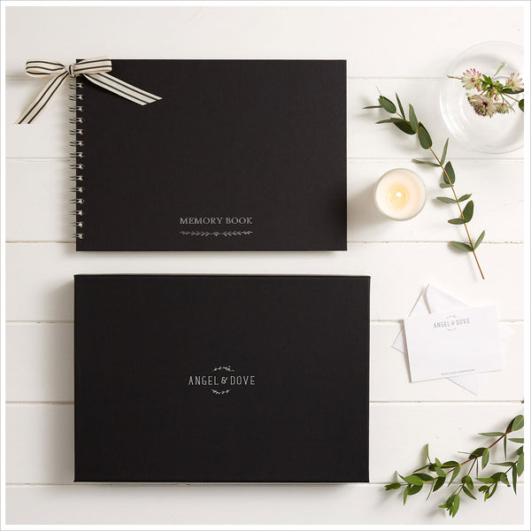 Gift Boxed A4 Luxury Black Memory Condolence Book with Gift Box & Card - Angel & Dove
