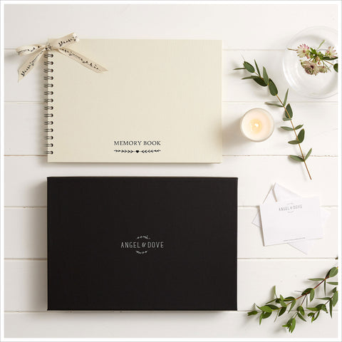 Gift Boxed A4 Luxury Ivory Memory Condolence Book with Gift Card - Angel & Dove