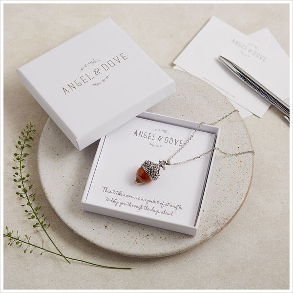 Amber Glass Acorn Necklace in Gift Box with Gift Bag & Card - a Symbol of Strength - Angel & Dove