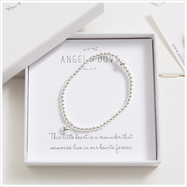 Silver Heart Beaded Bracelet in Gift Box with Bag & Gift Card - Angel & Dove