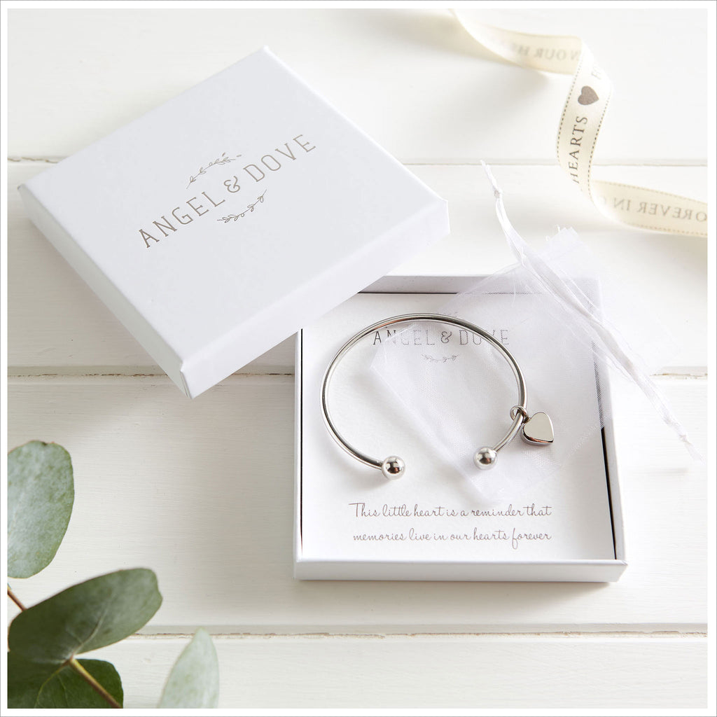 Heart Cremation Ashes Remembrance Bangle Sympathy Gift with Bag & Card - Angel & Dove