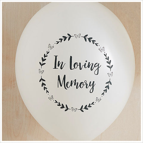 White 'In Loving Memory' Biodegradable Funeral Remembrance Balloons - Angel & Dove