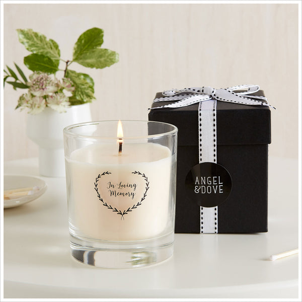 'In Loving Memory' Large 30cl Gift Boxed Funeral Remembrance Candle - Angel & Dove