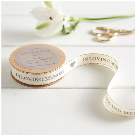 'In Loving Memory' Printed Natural Cotton Ribbon - 5m or 25m Roll - Angel & Dove