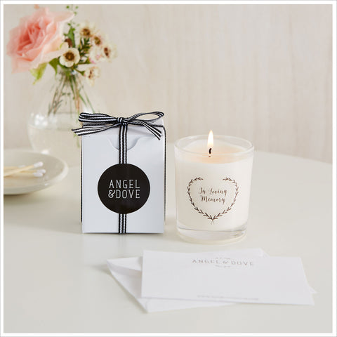 'In Loving Memory' 9cl Votive Funeral Remembrance Candle with Gift Bag & Card - Angel & Dove