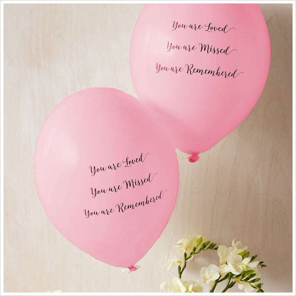 'You are Loved, Missed, Remembered' Funeral Remembrance Balloons - Pale Pink - Angel & Dove