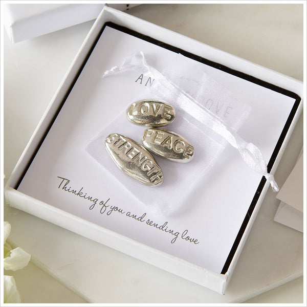 3 Pewter 'Peace, Love, Strength' Pebbles Sympathy Gift with Bag & Card - Angel & Dove