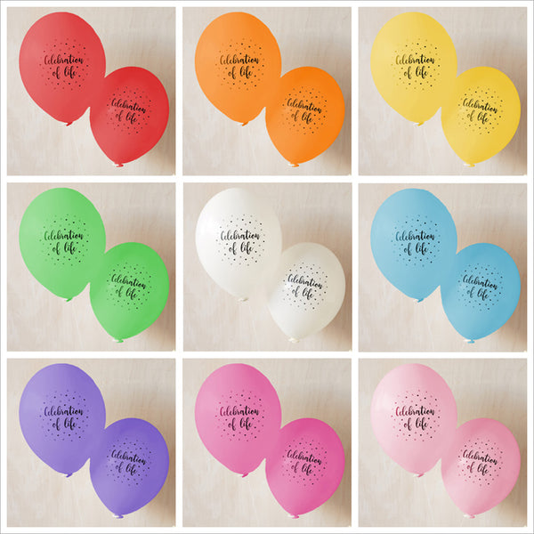 'Celebration of Life' Funeral Remembrance Balloons - Rainbow Mix - Angel & Dove