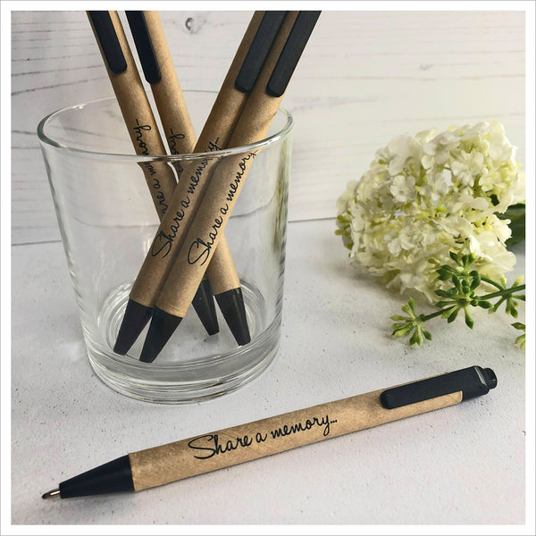 Pack of 3 'Share a Memory' Kraft Ballpoint Pens for Funeral Memory or Condolence Book