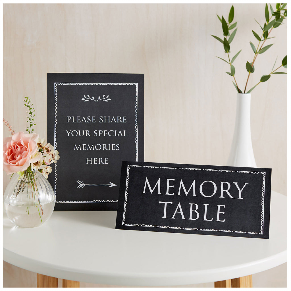 Set of 2 Signs: 'Please Share Your Special Memories Here' & 'Memory Table' - Black - Angel & Dove