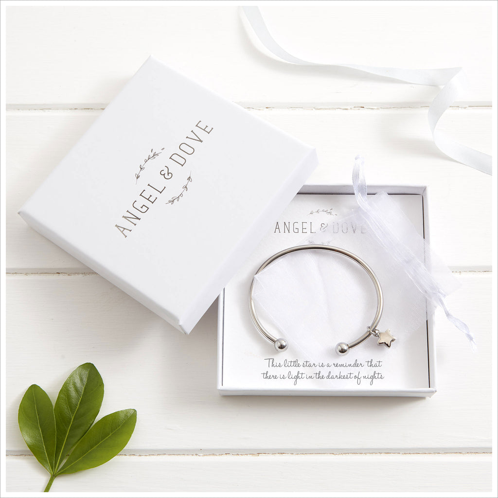 Star Cremation Ashes Remembrance Bangle Sympathy Gift with Bag & Card - Angel & Dove