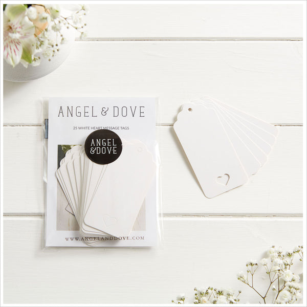 25 White Heart Card Balloon Message Tags
