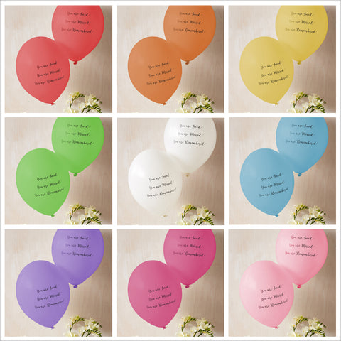 'You are Loved, Missed, Remembered' Funeral Remembrance Balloons - Rainbow Mix - Angel & Dove
