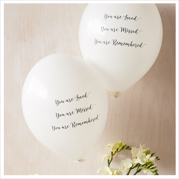 'You are Loved, Missed, Remembered' Funeral Remembrance Balloons - Rainbow Mix