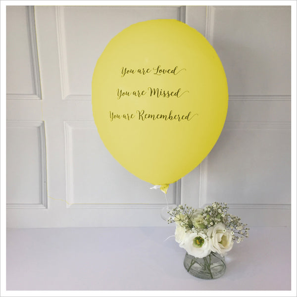 'You are Loved, Missed, Remembered' Funeral Remembrance Balloons - Yellow - Angel & Dove