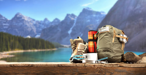 Mountains and Camping equipment essentials