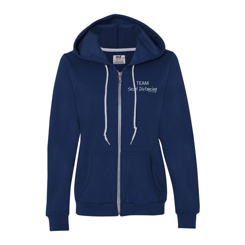 Women's Custom Printed Zip Hoody-Team Social Distancing