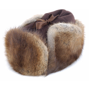 RCMP STYLE MUSKRAT HAT winnipeg Muskrat fur hat with brown melton cloth top and outside fur ear flaps