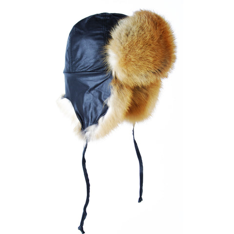 47a3aeaf5c9b0 Red Fox Leather Fur Aviator Hat