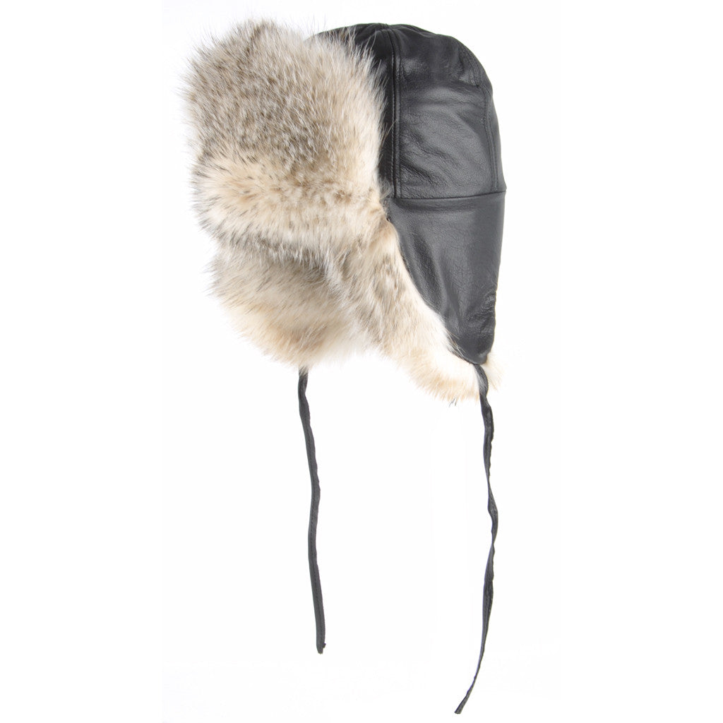 Badger Leather and Fur Aviator Hat