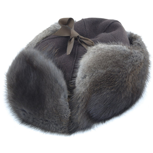 Natural Black Muskrat Mountie Fur Hat