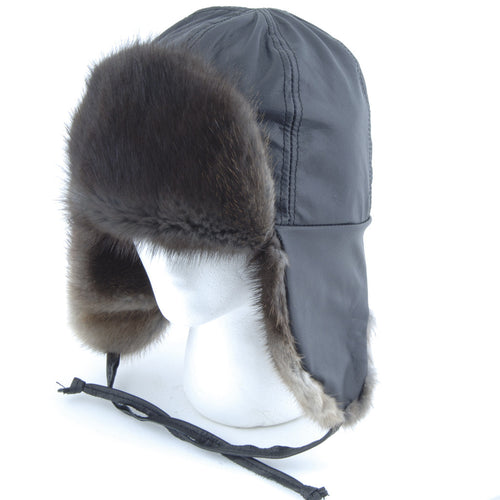 Natural Black Muskrat Aviator Fur Hat