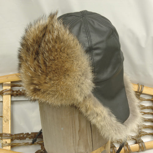 Coyote Leather Aviator Fur Hat