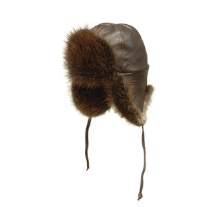 Beaver Fur and Leather Aviator Hat