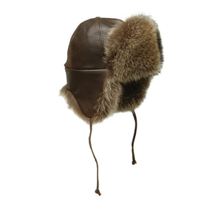 Raccoon Leather and Fur Aviator Hat