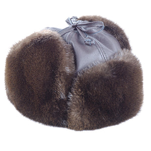 Otter Aviator Leather and Fur Hat