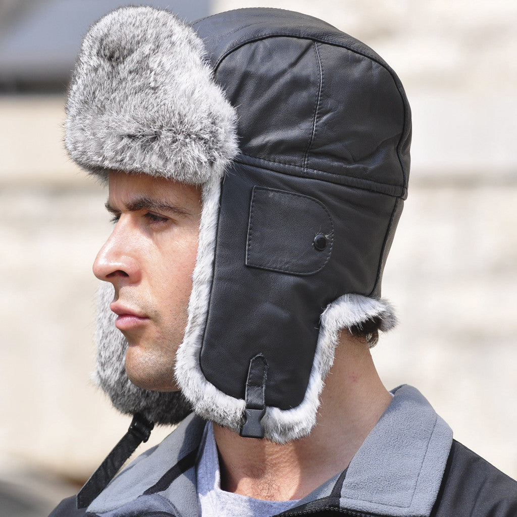 Crown Cap Leather With Fur Aviator