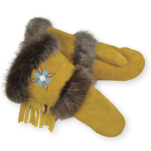 Genuine Handmade Beaver Fur Trim Gauntlet Mitt