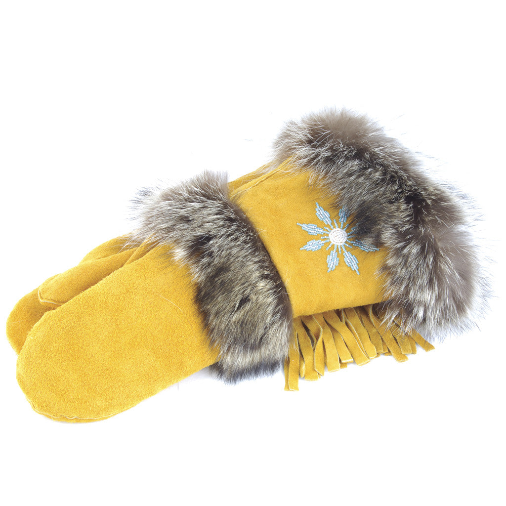 Genuine Handmade Raccoon Fur Trim Gauntlet Mitt