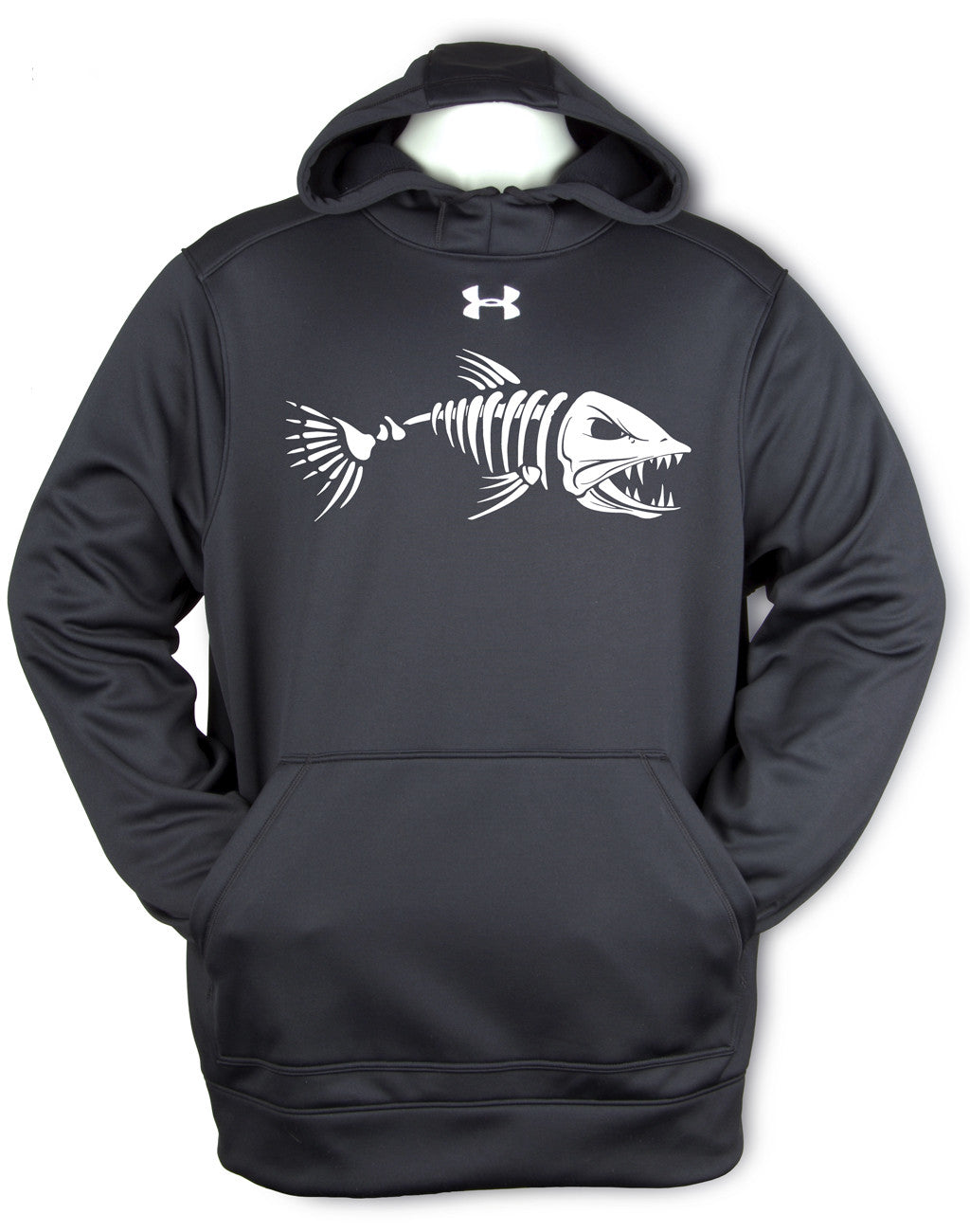 Under Armour Angry Skeleton Fish  White Pullover